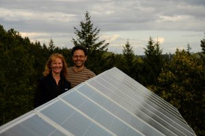 Ann and Gord… on the roof of their Eco-Sense home.