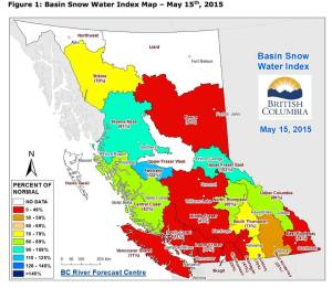 BC snow pack map as of May 15, 2015