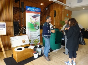 Water display: Composting toilets, rain water harvesting, grey water reuse.