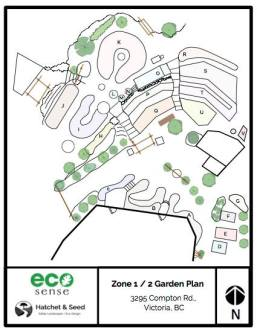The Eco-Sense garden map (zone 1 and 2)