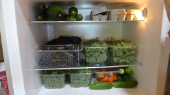 Grapes, cucumbers, zucchini, cucumbers, eggs, peppers.